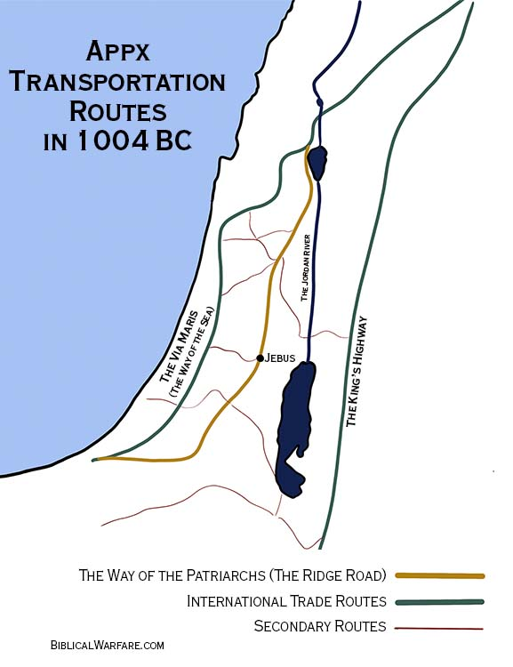 Transportation routes when Jerusalem became the city of David
